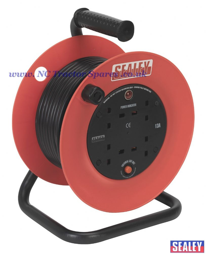 Cable Reel 25mtr 4 x 230V 1.5mm Heavy-Duty Thermal Trip